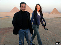 Nicolas Sarkozy with his girlfriend Carla Bruni visiting Egypt on 30 December