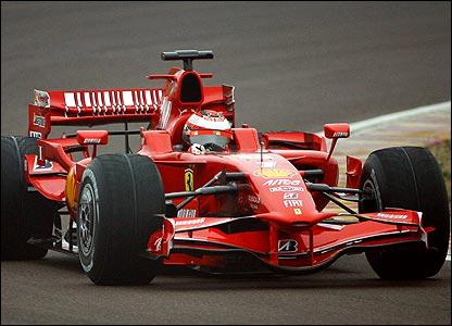 World champion Kimi Raikkonen testing Ferrari's F2008 car at Ferrari's track in Maranello