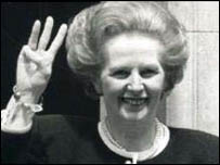 Baroness Thatcher celebrates her third election win in 1987