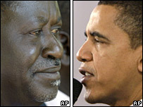 Split picture Kenyan opposition leader Raila Odinga (l) and US presidential hopeful Senator Barack Obama (r)
