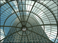 A glass atrium in London's Canary Wharf business district