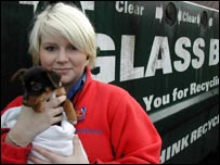 Gemma Beatty holds one of the puppies