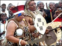 Mr Zuma and his fourth wife Nompumelelo Ntuli at their Zulu wedding ceremony