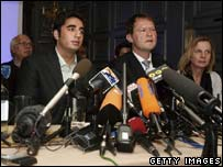 Bilawal Bhutto Zardari and advisors at a press conference