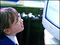 School pupil looking at computer