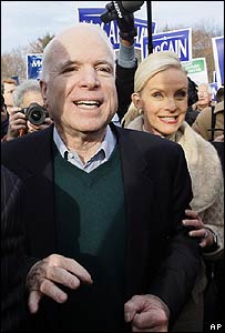 Senator John McCain, and his wife Cindy, in New Hampshire - 8 January 2008