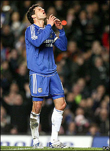 Chelsea's Michael Ballack shows his frustration