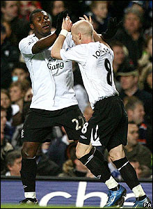 Yakubu is congratulated after scoring for Everton