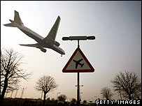 Plane arriving at Heathrow airport