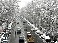 Snowy street in Tehran 6/1/08