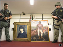Sao Paulo officials display two recovered, highly prized works of art on Tuesday