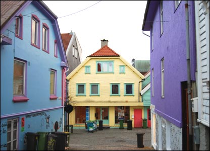 Colourful wooden houses near the harbour in Stavanger