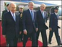 بوش وزعماء اسرائيل