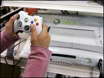 Person playing on an Xbox