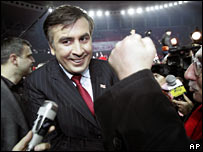Mikhail Saakashvili at a rally in Tbilisi, Georgia, on 4 January, 2008
