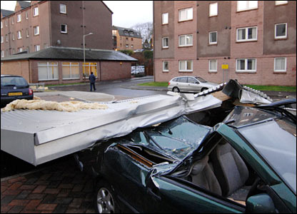 A car smashed near a house in Dundee