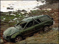 Car on shoreline
