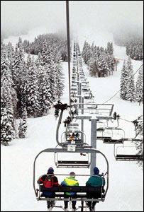 skiers on a chairlift