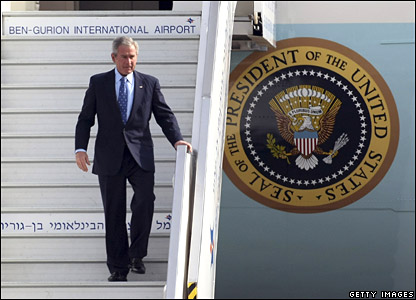 George W Bush arrives at Ben Gurion airport near Tel Aviv, Israel, on Wednesday, 9 January 2008