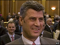 Kosovo's new PM Hashim Thaci in parliament