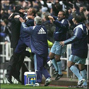 Allardyce celebrates Newcastle's late win over Birmingham