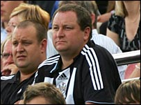 Owner Mike Ashley watches Newcastle from the stands