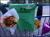 Matthew Hobbs' football shirt has been placed at the scene of the accident