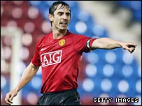 Gary Neville issues instructions to his Man Utd reserves team-mates against Everton's second string
