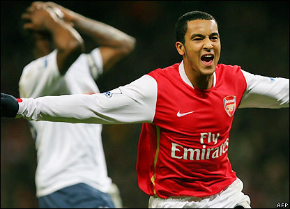 Walcott celebrates his equaliser