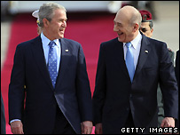 President Bush (L) and Ehud Olmert 9/1/08