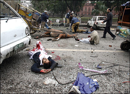Aftermath of a suicide bomb attack in Lahore, Pakistan, on 10 January 2008