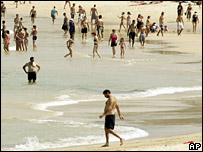 File image of Australians on Bondi Beach in Sydney