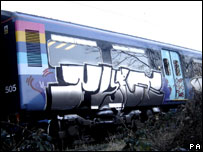 Graffiti on train in Essex