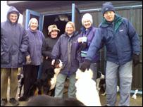 Dog walkers on Sizewell beach, Lynn Chamberlain, third from right