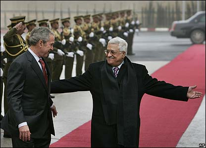 George Bush and  Mahmoud Abbas
