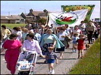 Anti-nuclear protest on Anglesey in 1989