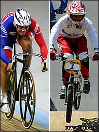 Shanaze Reade wins team sprint gold on the track (left) and at the BMX test event in China (right)