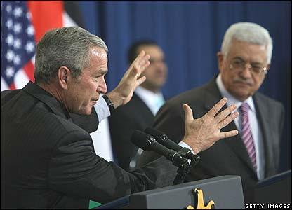 George Bush and  Mahmoud Abbas