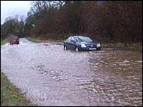 Flooded road in Llanrwst