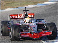 Lewis Hamilton in McLaren's new 2008 car