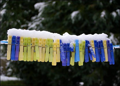 Pegs in snow