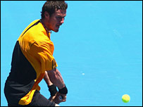 Marat Safin was feeling blue at the Kooyong Classic