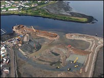 The development on reclaimed land next to Inverness harbour
