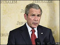 George Bush speaking at King David Hotel, Jerusalem