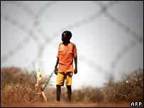 A child outside a French military camp in southern Chad