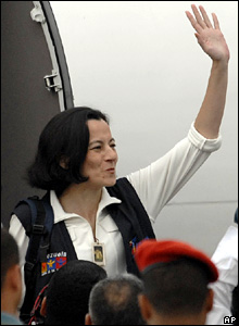Clara Rojas gets off the private jet at Maiquetia airport near Caracas