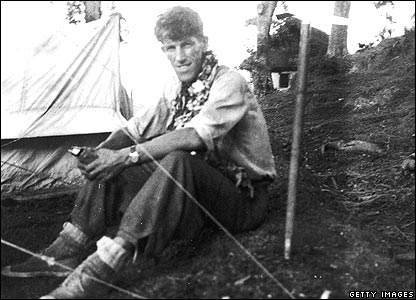 Sir Edmund Hillary at Everest base camp