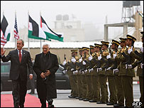 Mahmoud Abbas y George Bush
