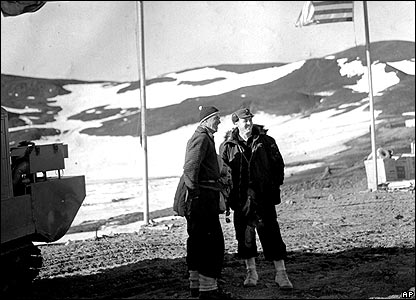 Sir Edmund Hillary (left) on Ross Island