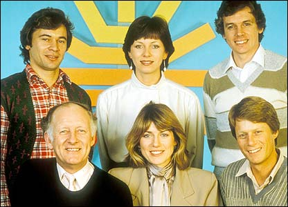 Breakfast Time's original presenters, top l-r: Francis Wilson, Debbie Rix, David Icke. Bottom l-r: Frank Bough, Selina Scott, Nick Ross